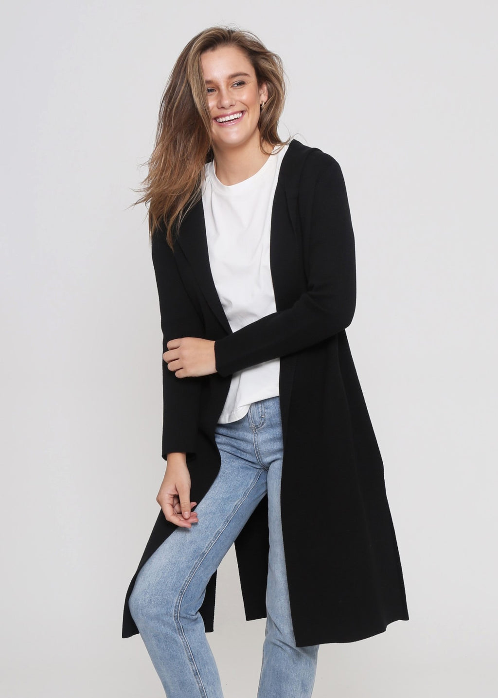 ARICA HOODED CARDIGAN - BLACK