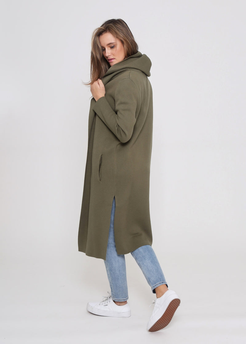 ARICA HOODED CARDIGAN - KHAKI