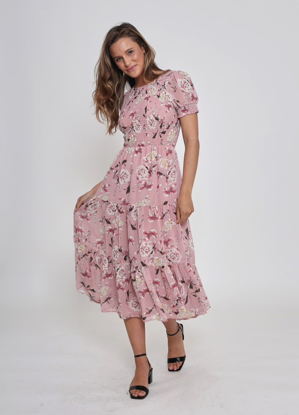 NEW - PHOENIX SHORT SLEEVE DRESS - ROSE PRINT