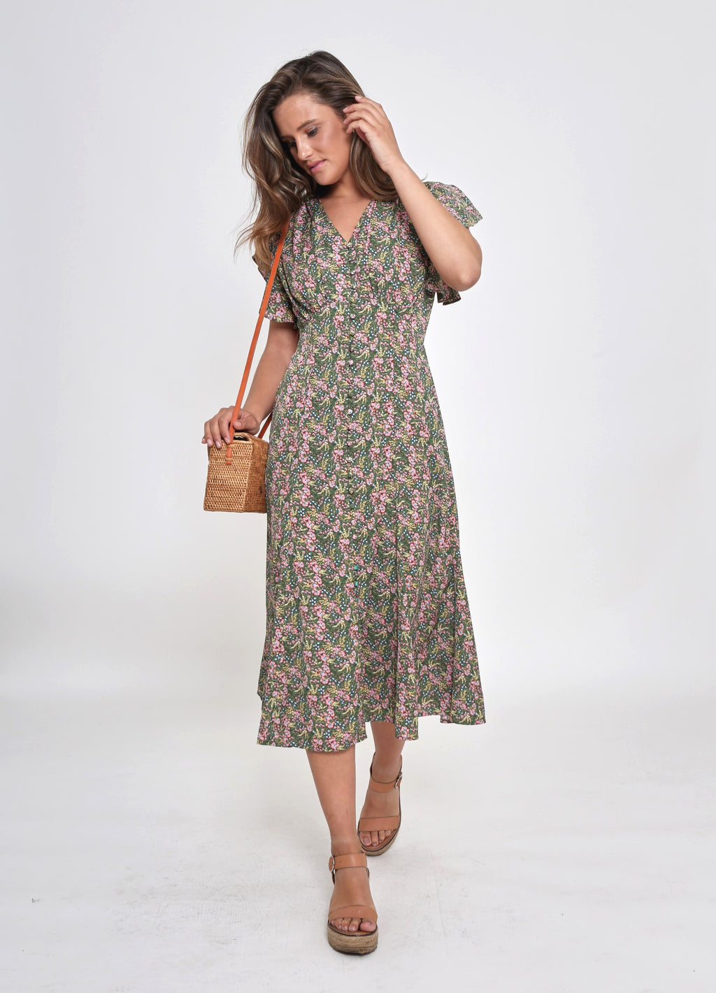 NEW - VERA DRESS - GREEN FLORAL