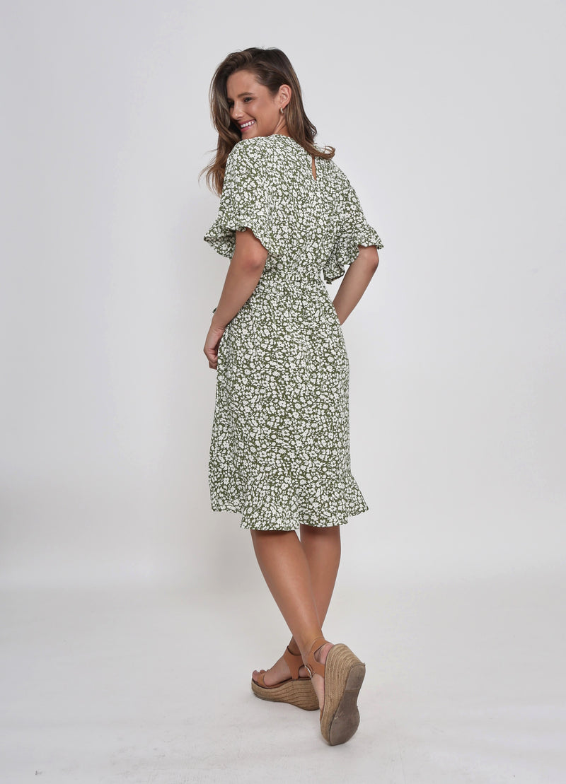 NEW - CLAIRE DRESS - GREEN FLORAL