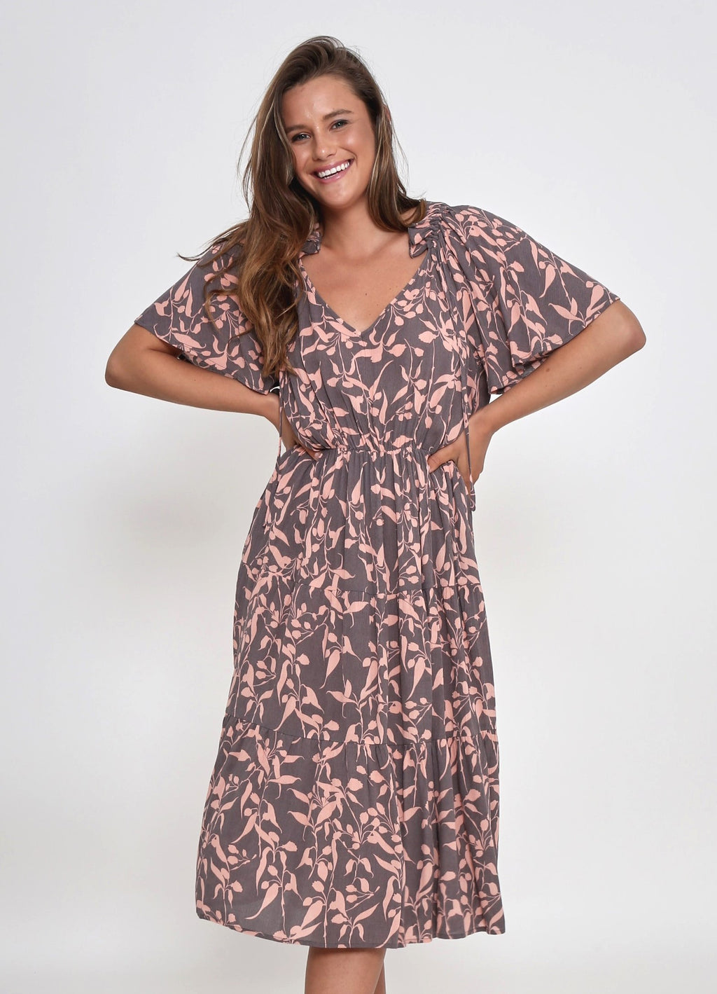 NEW - KARINA DRESS - MOCHA/PINK