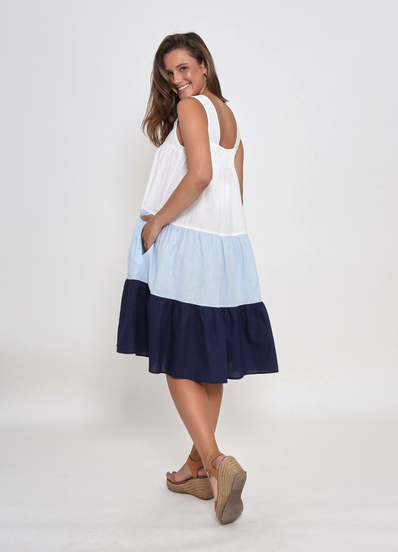 NEW - CAMERON DRESS - BLUE COLOUR BLOCK