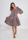 TEGAN DRESS - BLUSH LEOPARD