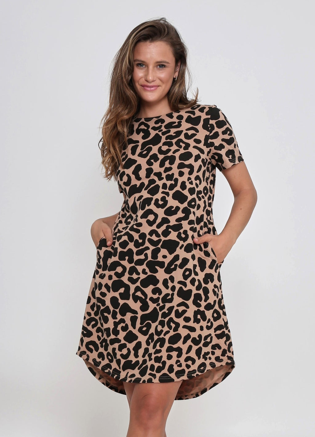 REMI DRESS - TAN LEOPARD