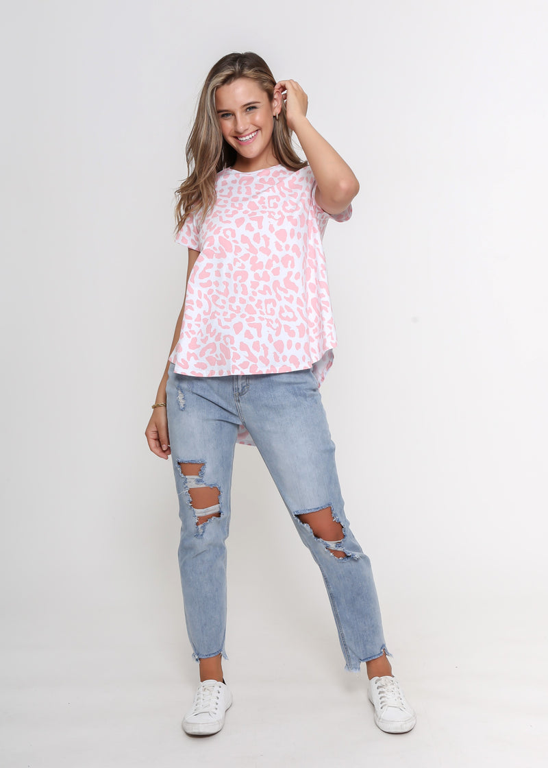 NEW - KARTER TEE - DARK ROSE LEOPARD
