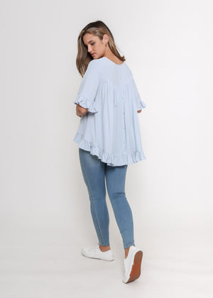 LORA FRILL TOP - SKY BLUE