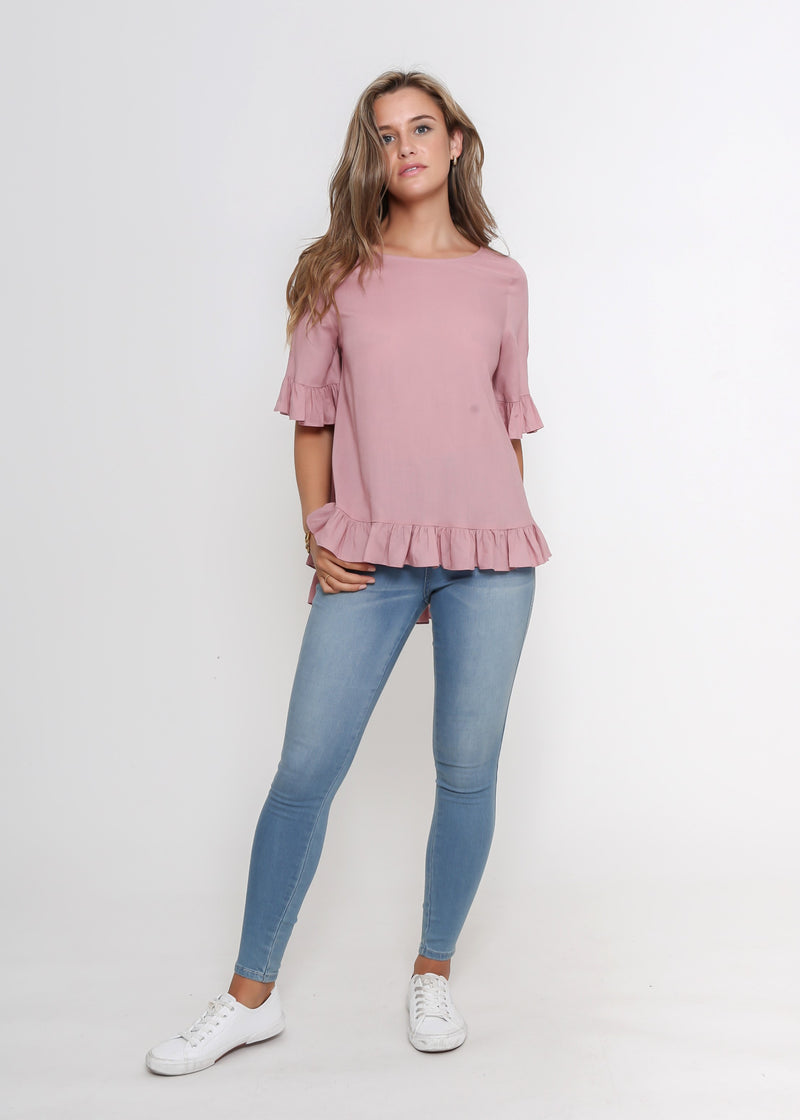 NEW - LORA FRILL TOP - ROSE