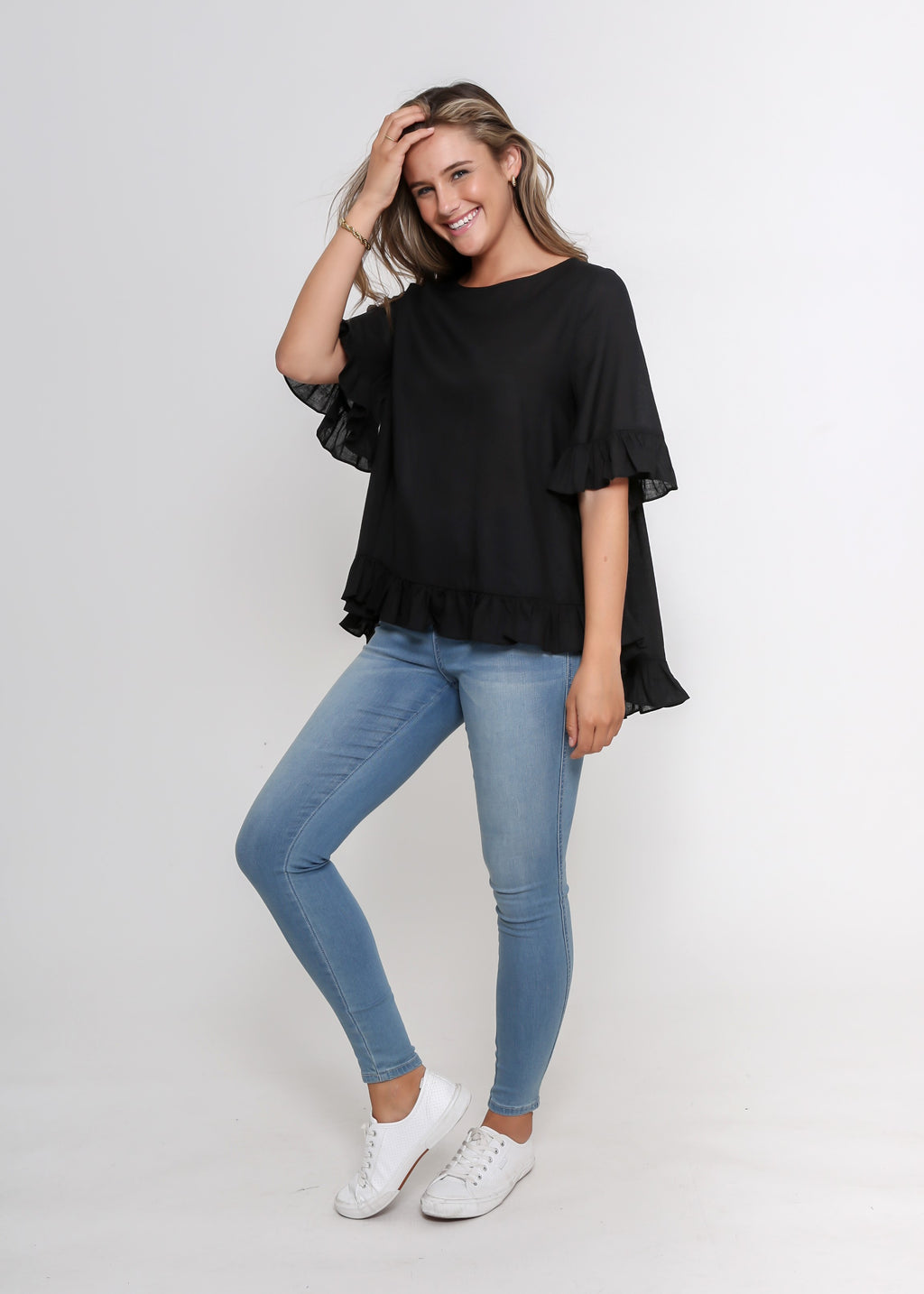 NEW - LORA FRILL TOP - BLACK