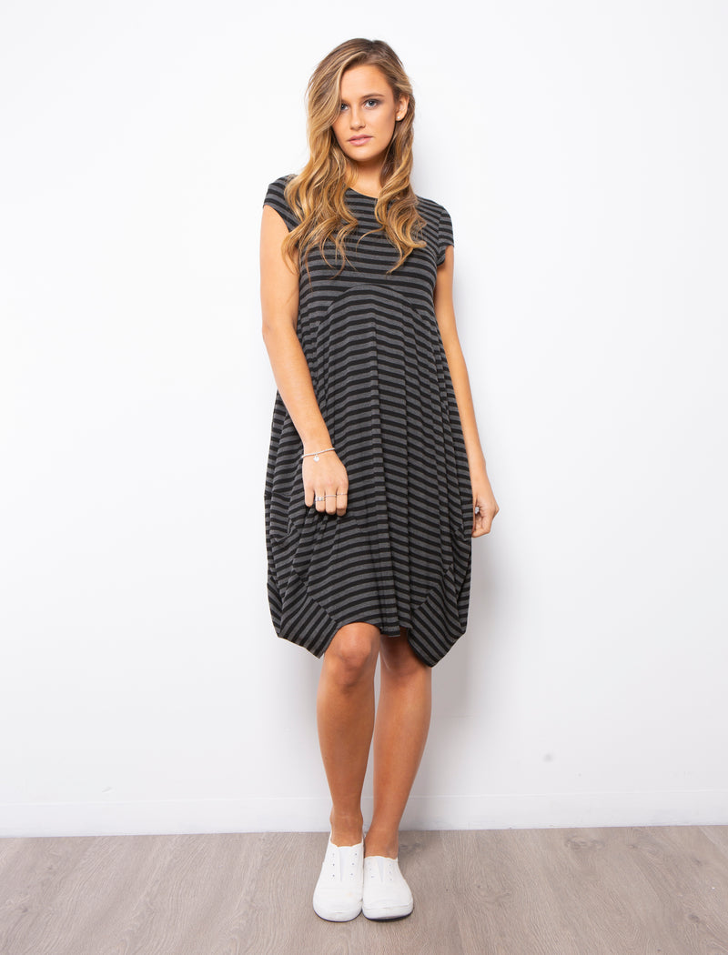 ELISE DRESS CAP SLEEVE - GREY/BLACK STRIPE