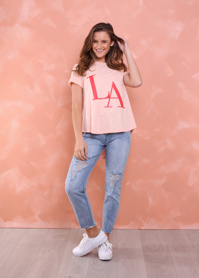 LARA TEE - PEACH/RED