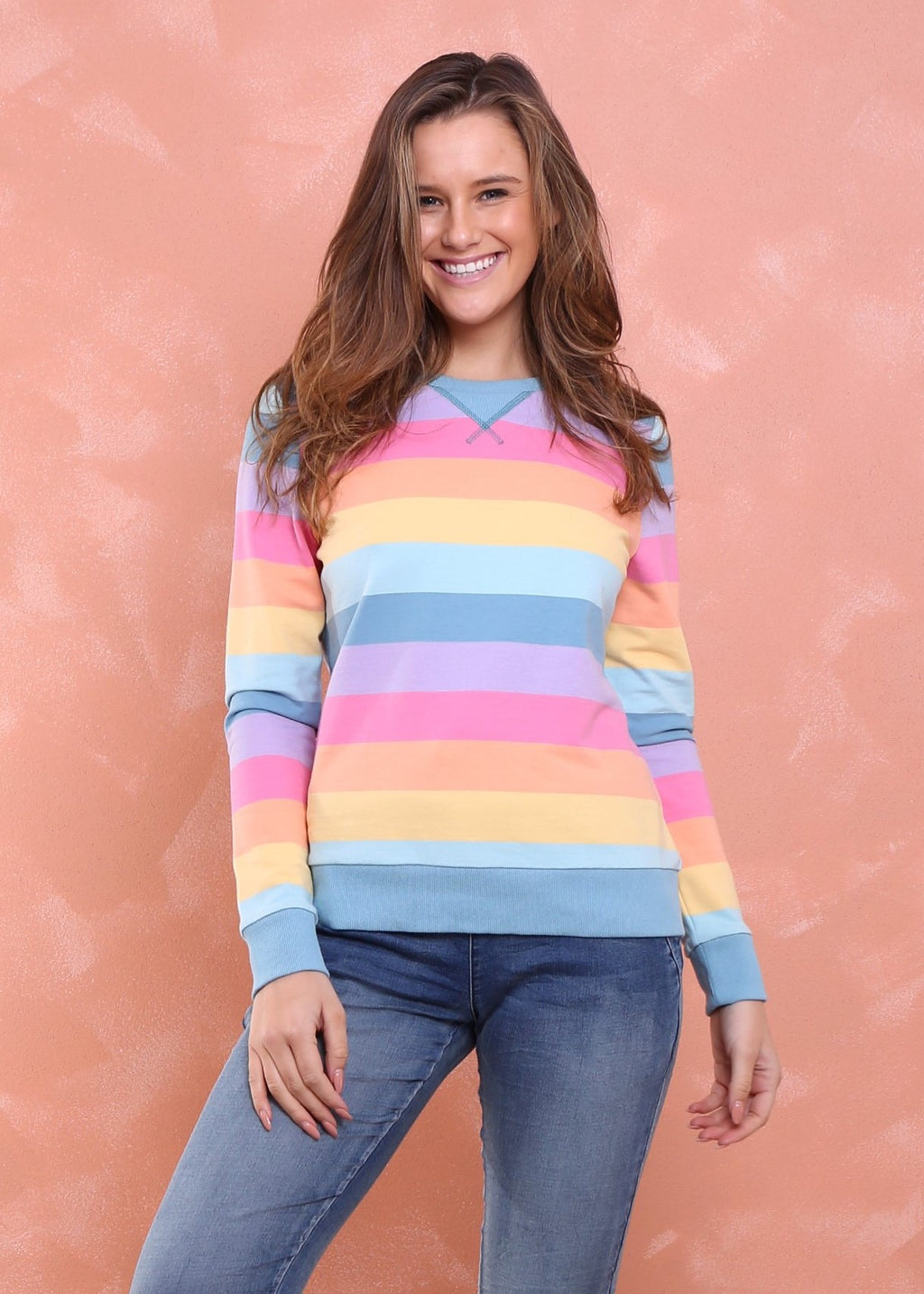 ALEX SWEATER - RAINBOW STRIPE - MARK DOWN MADNESS