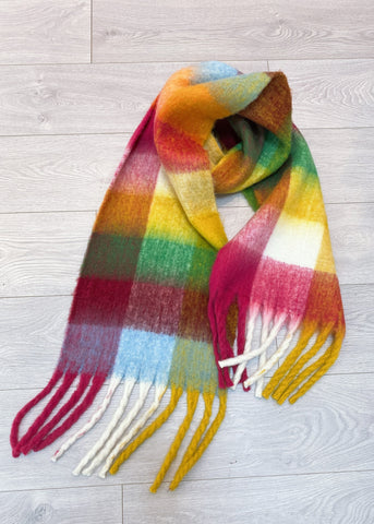 JUST IN - ASPEN SCARF - PEACH/RED MULTI CHECK