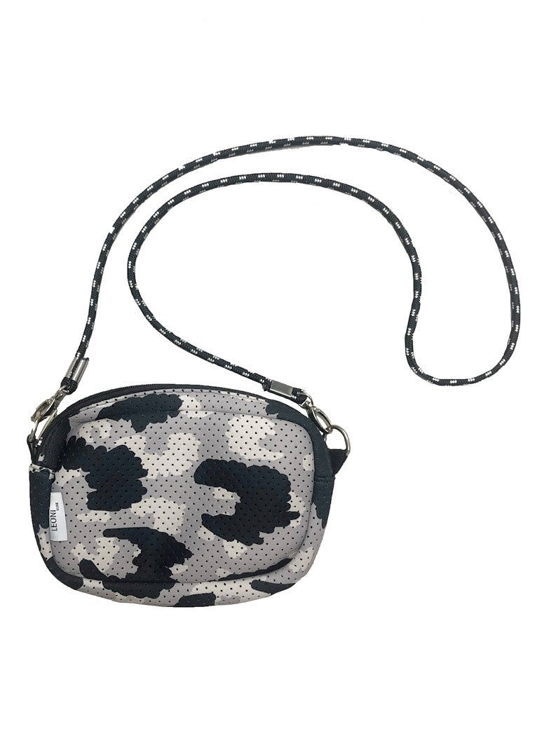 DEB NEOPRENE CROSSBODY BAG - GREY LEOPARD
