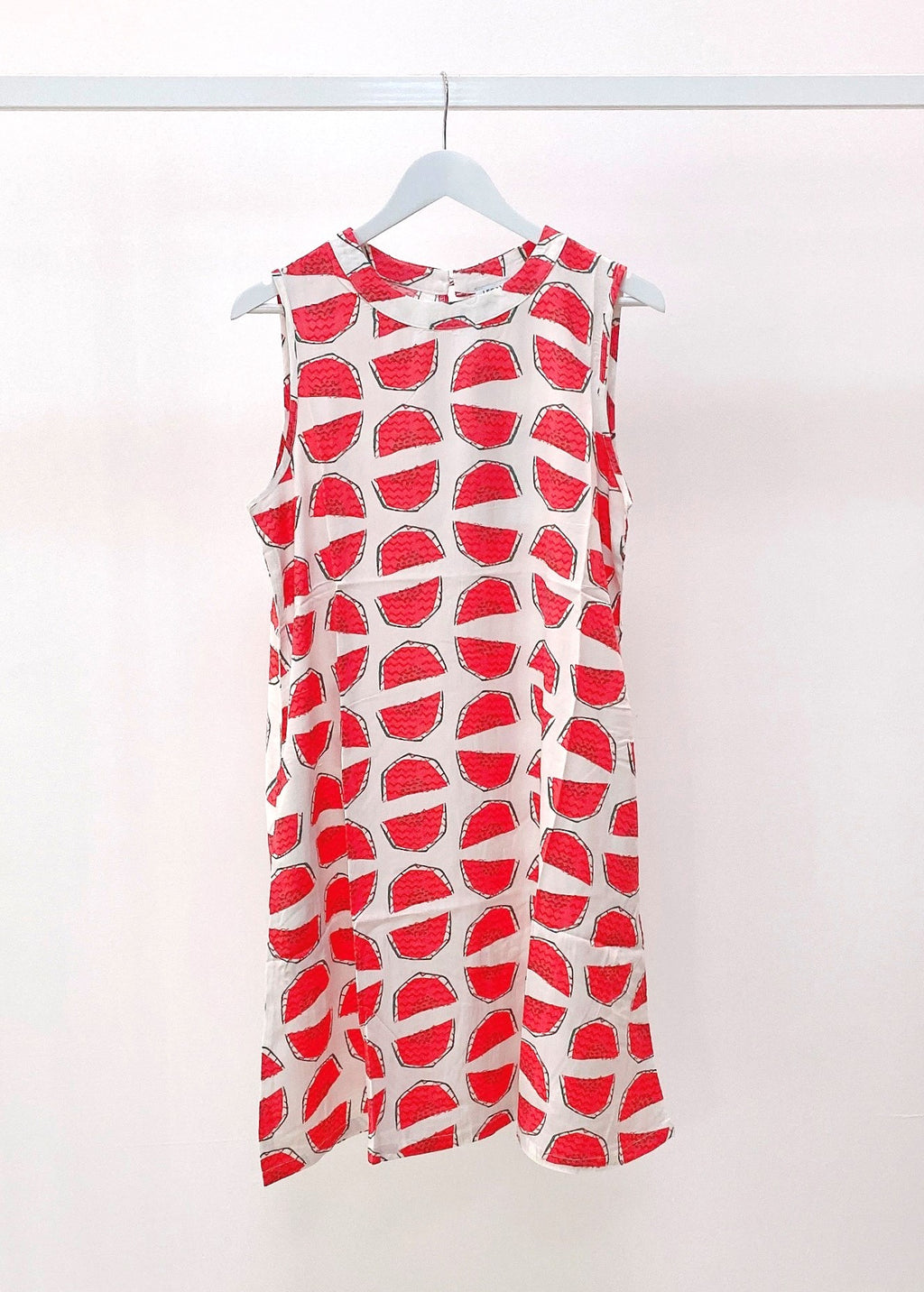 WATERMELON SLEEVE-LESS DRESS - WHITE - MARK DOWN MADNESS