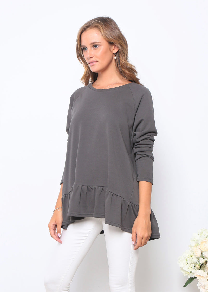 AMY FRILL TOP - CHARCOAL