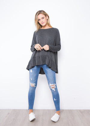 AMY FRILL TOP SOFT FABRIC - CHARCOAL