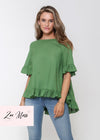 NEW - LORA FRILL TOP - FOREST
