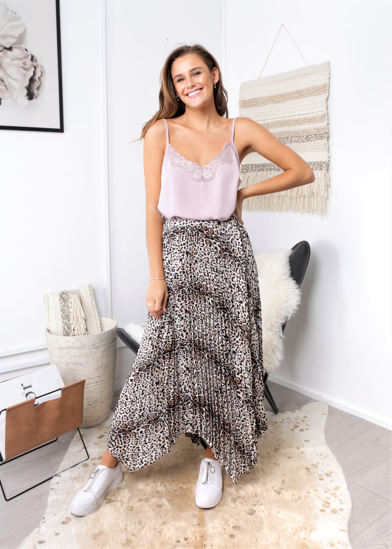 LESLEY PLEATED SKIRT - LEOPARD