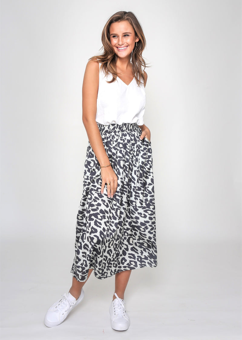 LIZ SKIRT - GREY CHEETAH