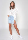 ELLA DENIM FREYED HEM SKIRT - LIGHT WASH