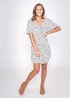 JEAN DRESS - WHITE/BLACK LEOPARD