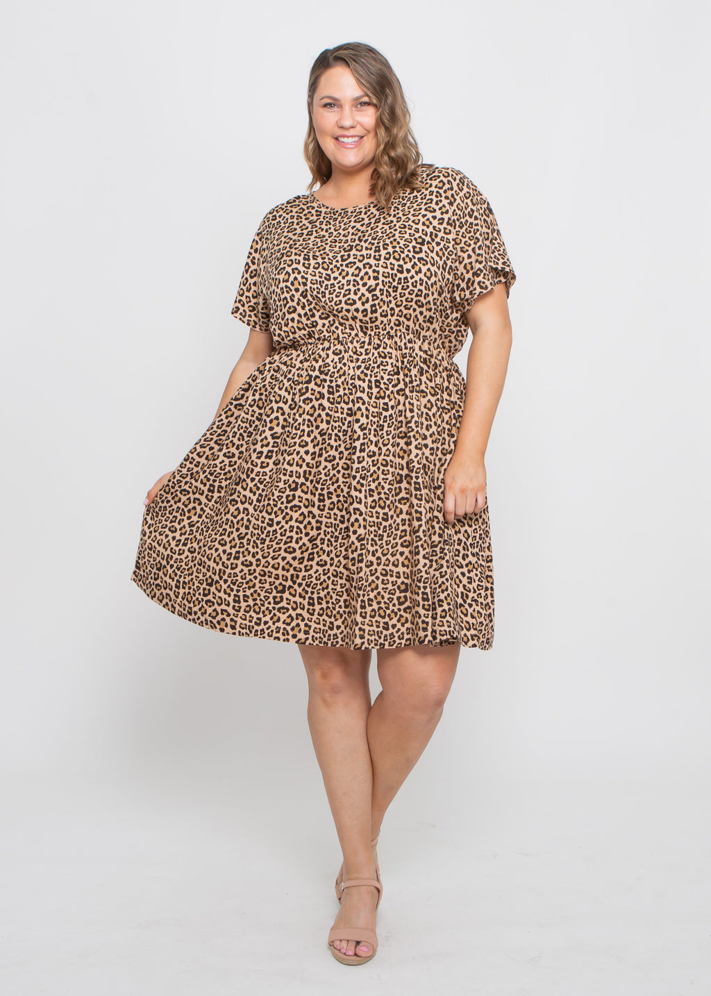 ASPEN DRESS - CAMEL LEOPARD - MARK DOWN MADNESS