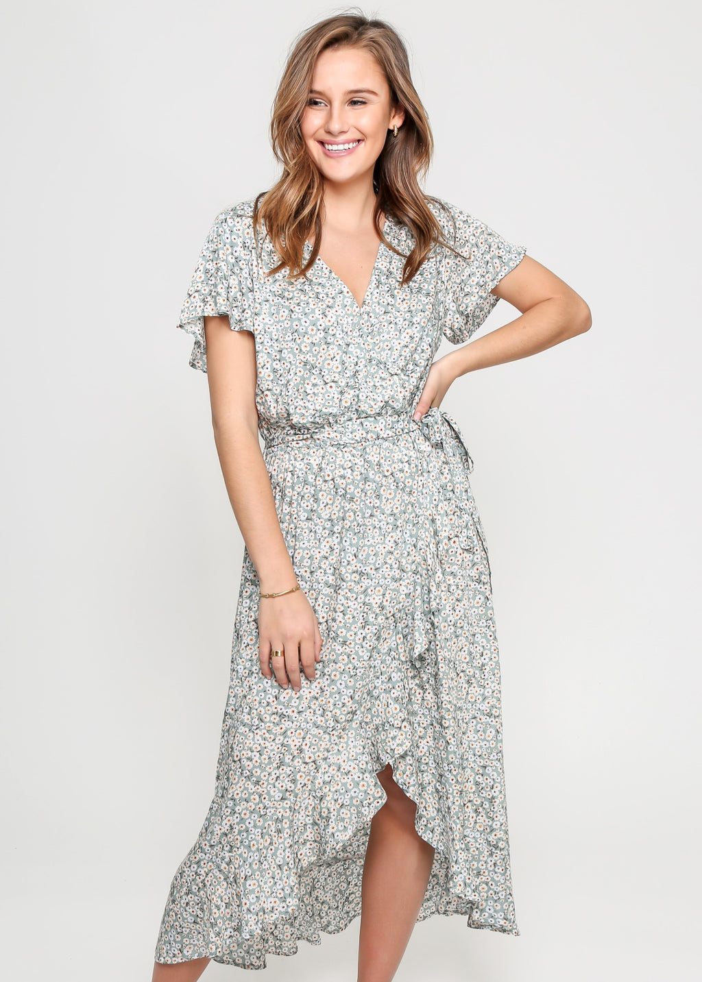SKYLAR WRAP DRESS - GREEN FLORAL - MARK DOWN MADNESS