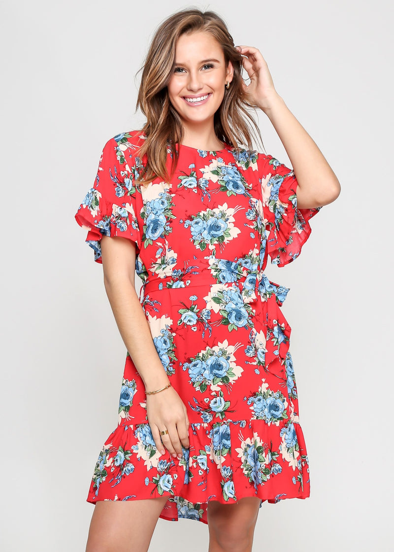 GIANNA DRESS - RED FLORAL