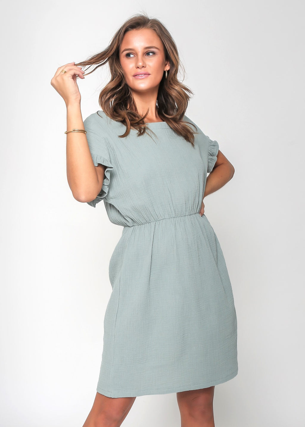 LIZZIE DRESS - SAGE - LAST STOCK