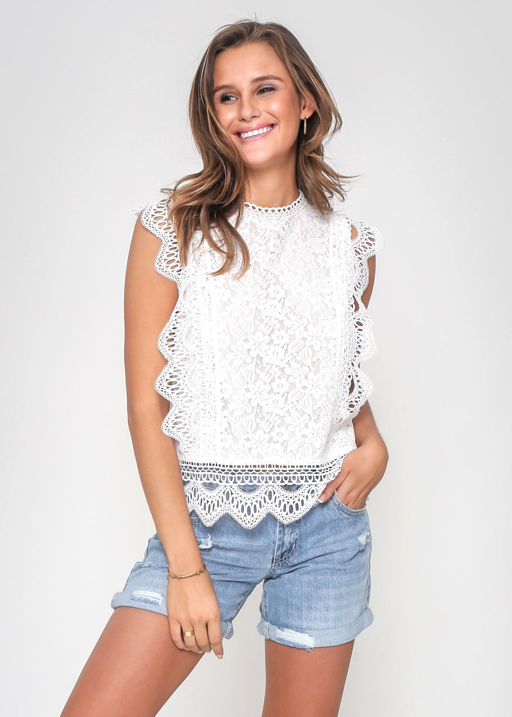 MIRANDA LACE TOP - WHITE