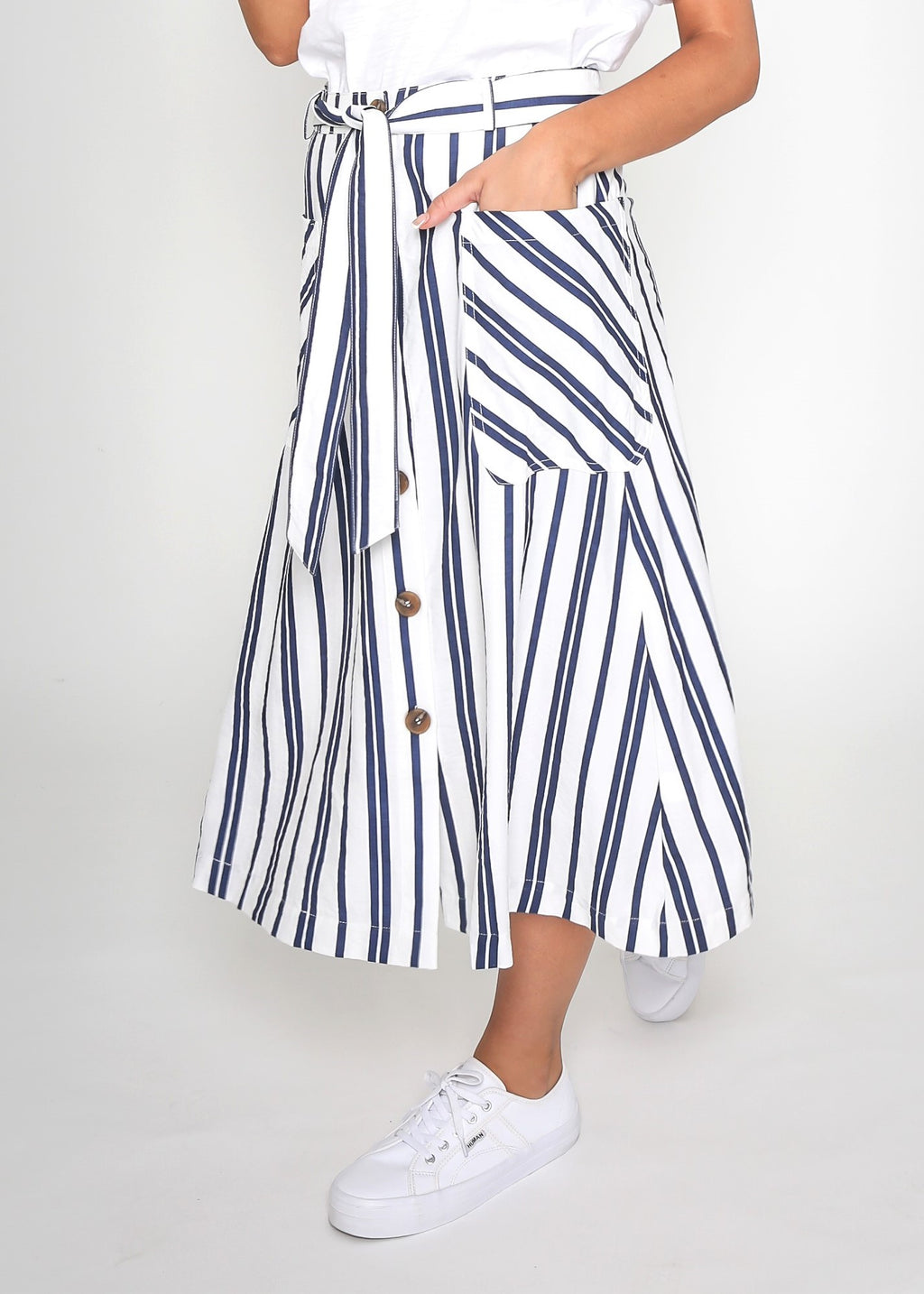 SASHA STRIPED SKIRT - NAVY STRIPE
