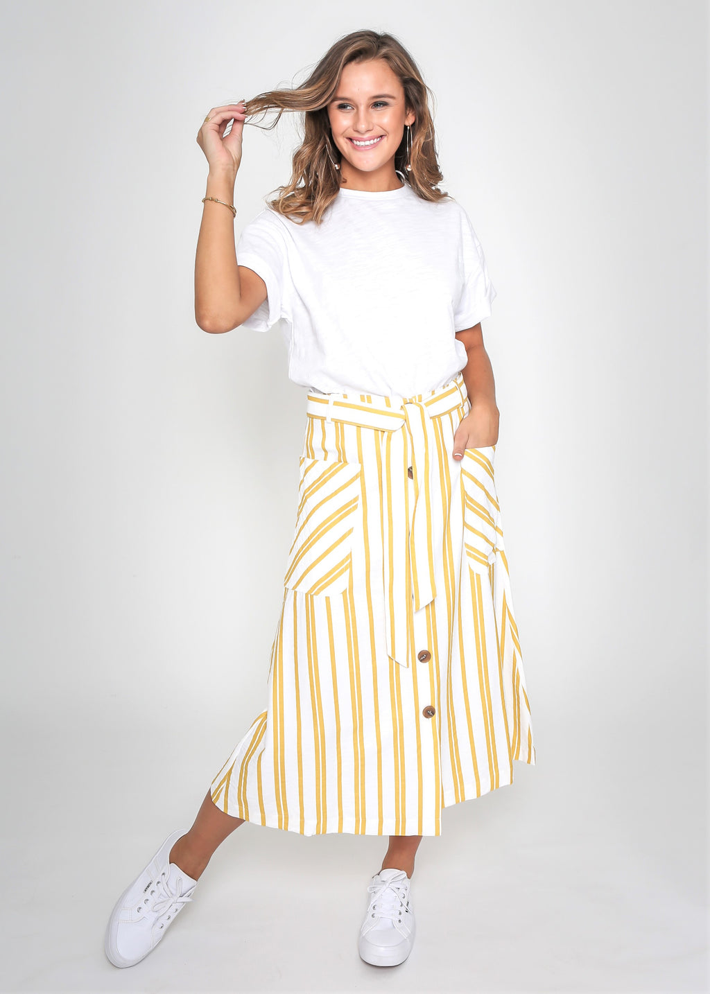 SASHA STRIPED SKIRT - YELLOW STRIPE