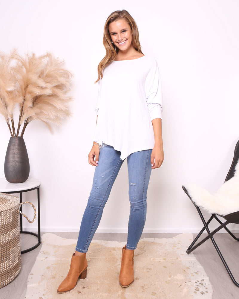 KATIE ASYMMETRIC TOP - WHITE