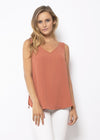 V NECK CAMI - RUST