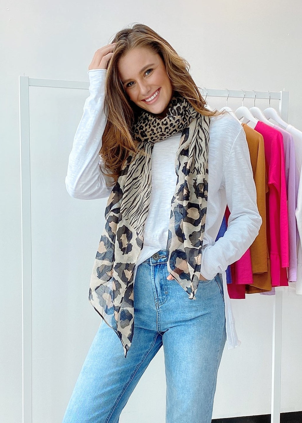 MIXED ANIMAL SCARF - BLACK