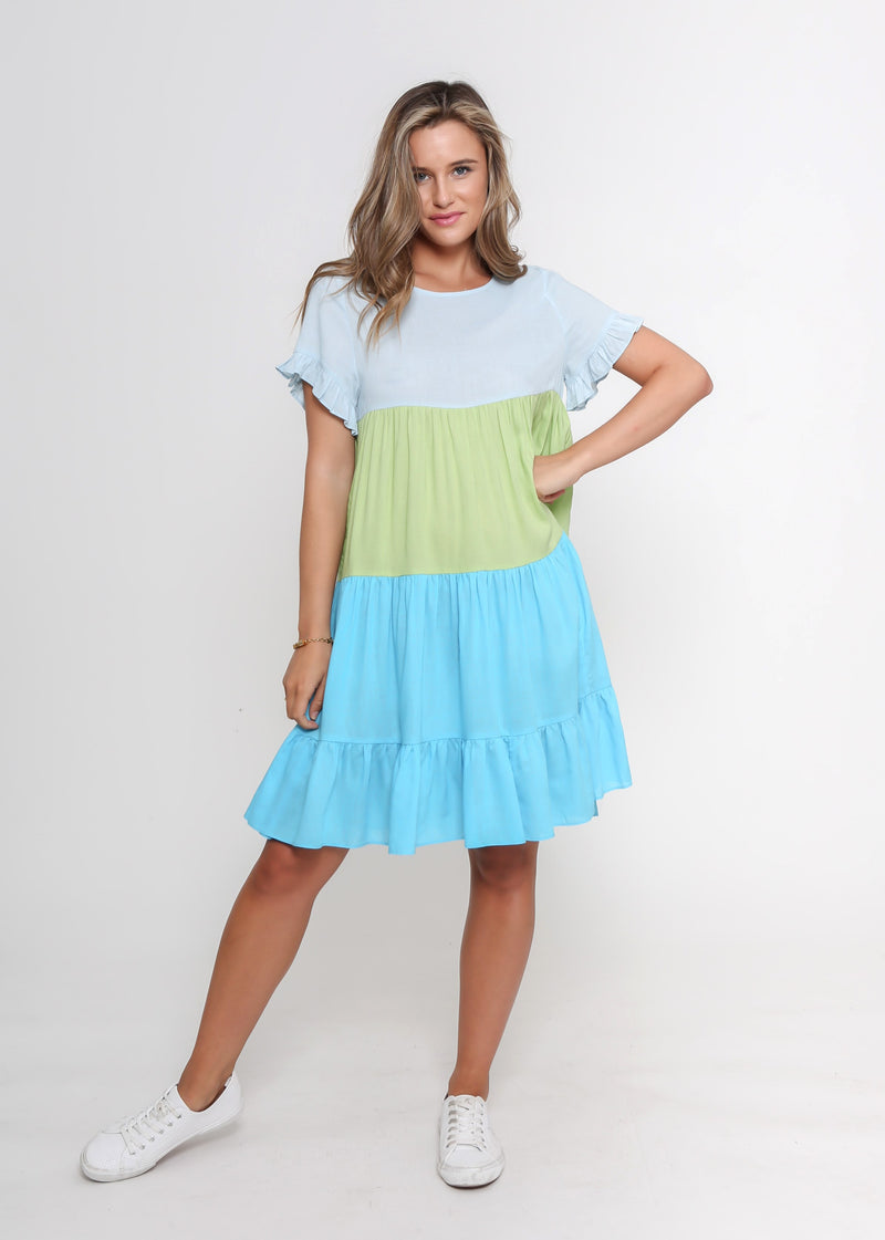 NEW - ZORA DRESS - BLUE/GREEN COLOUR BLOCK