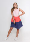 NEW - MILAN DRESS - PINK COLOUR BLOCK