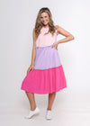 NEW - CADY DRESS - PINK COLOUR BLOCK