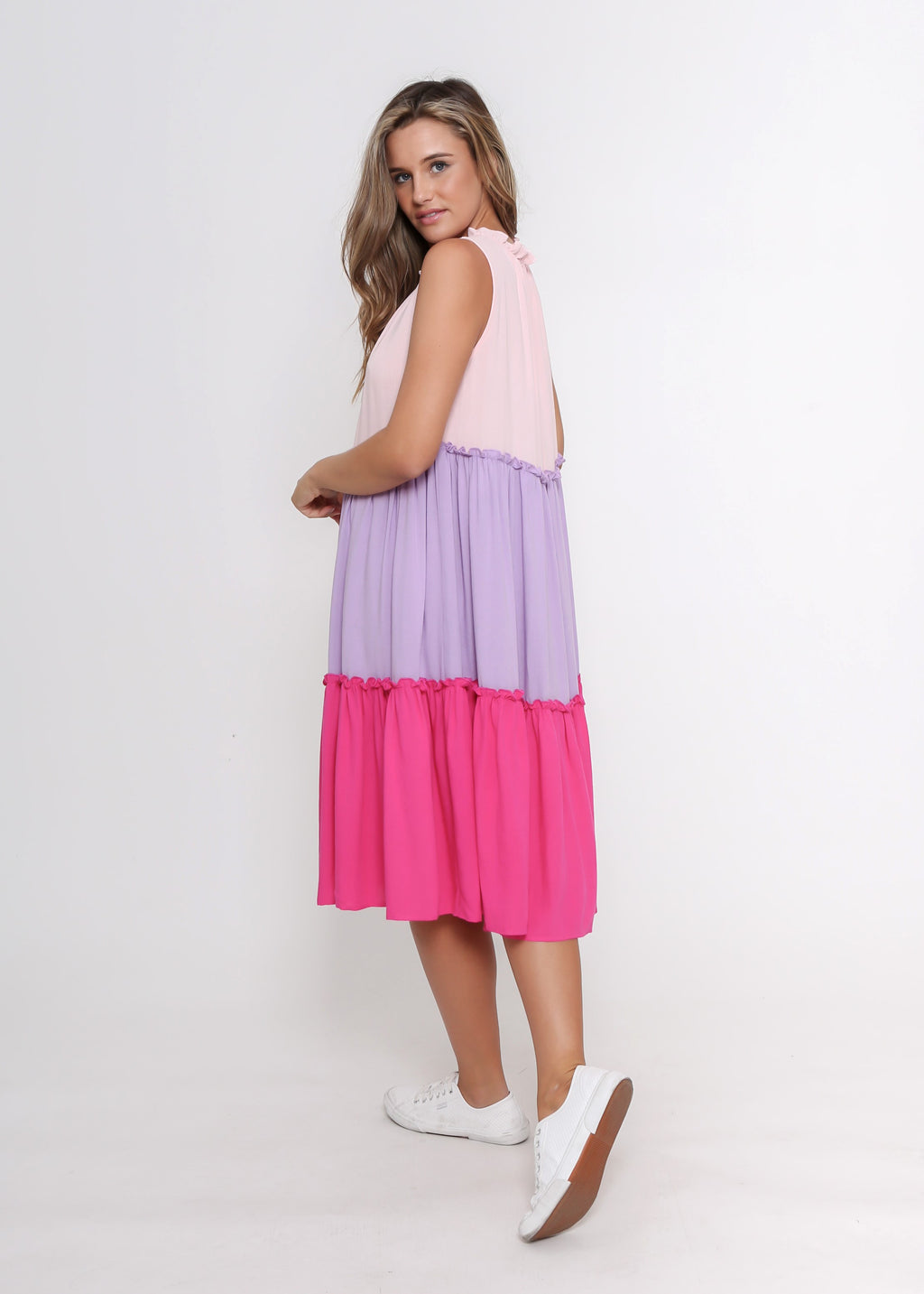 PRE-ORDER - CADY DRESS - PINK COLOUR BLOCK
