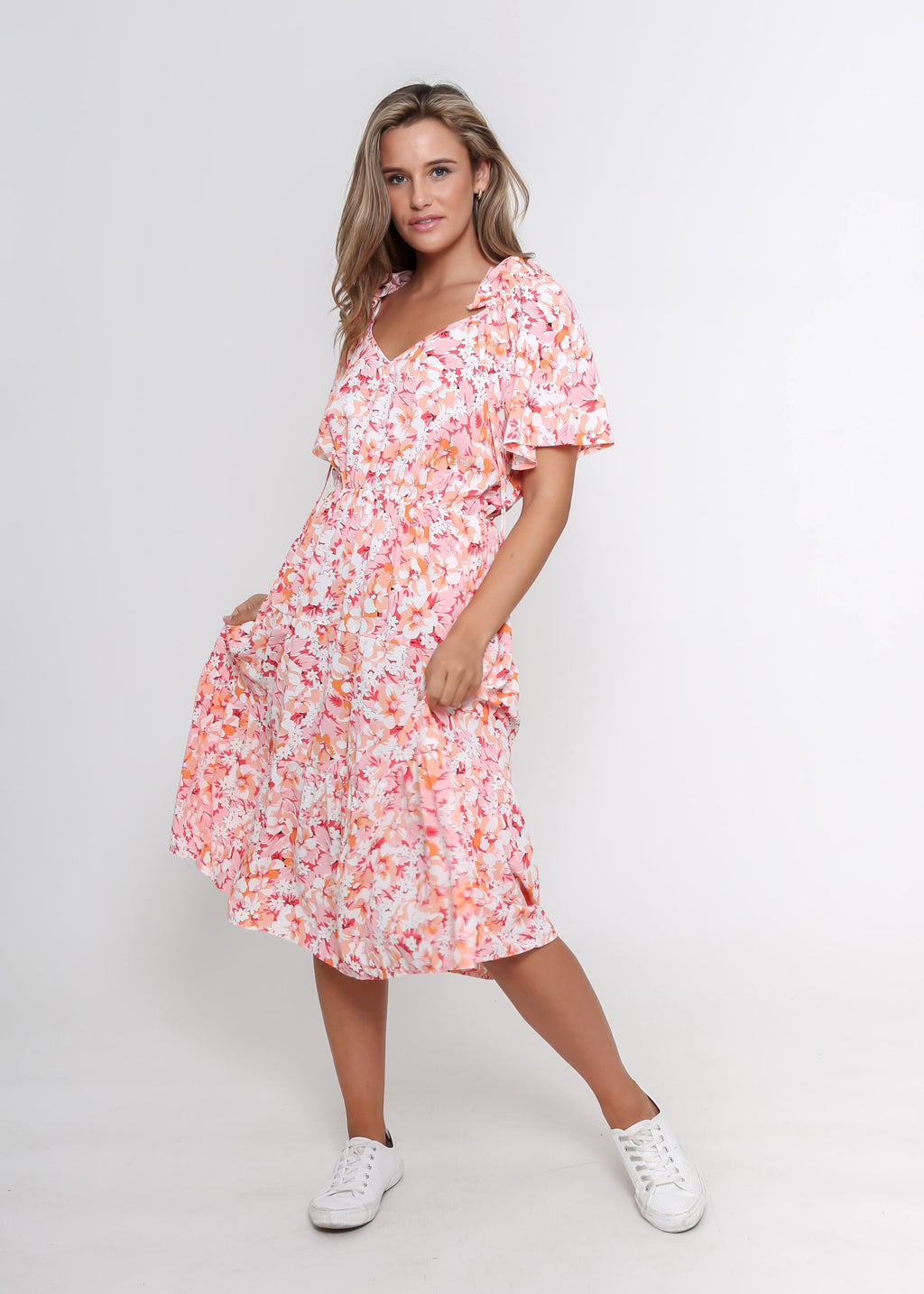 NEW - KARINA DRESS - PINK/WHITE