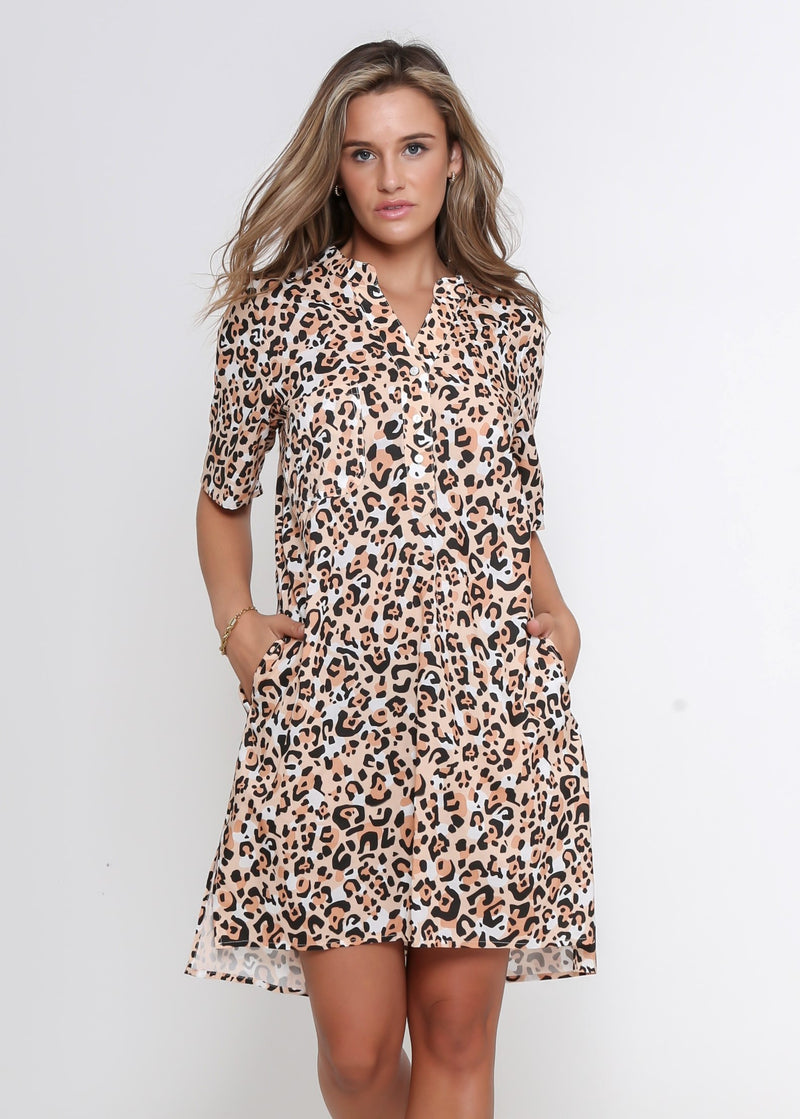 JEAN DRESS - SUMMER LEOPARD