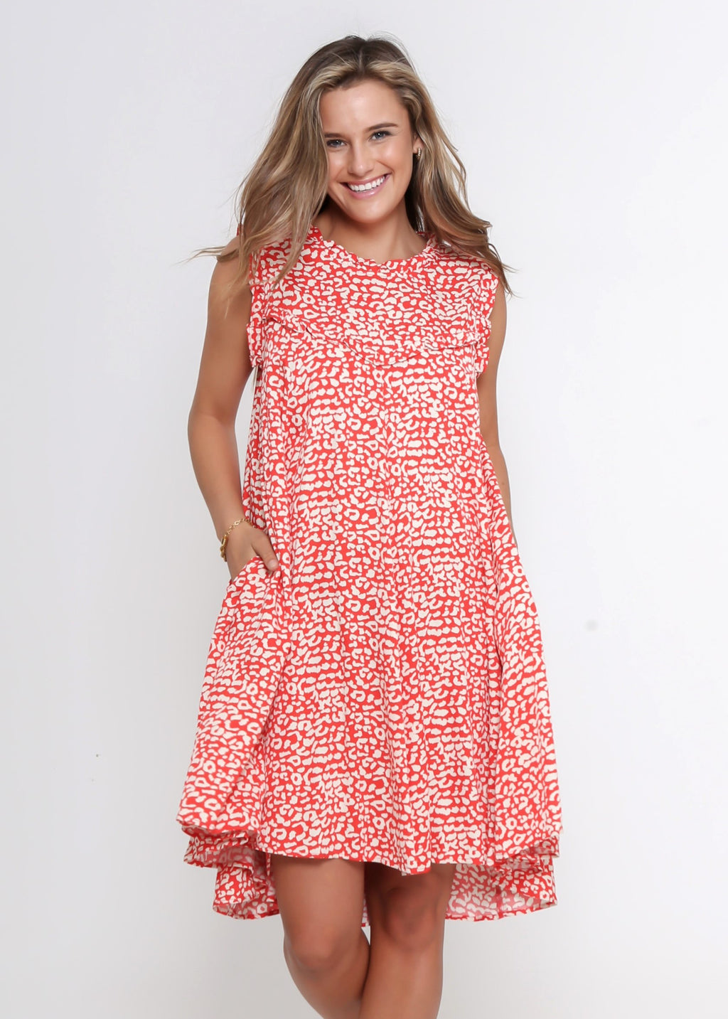 NEW - LAYLA DRESS - RED LEOPARD