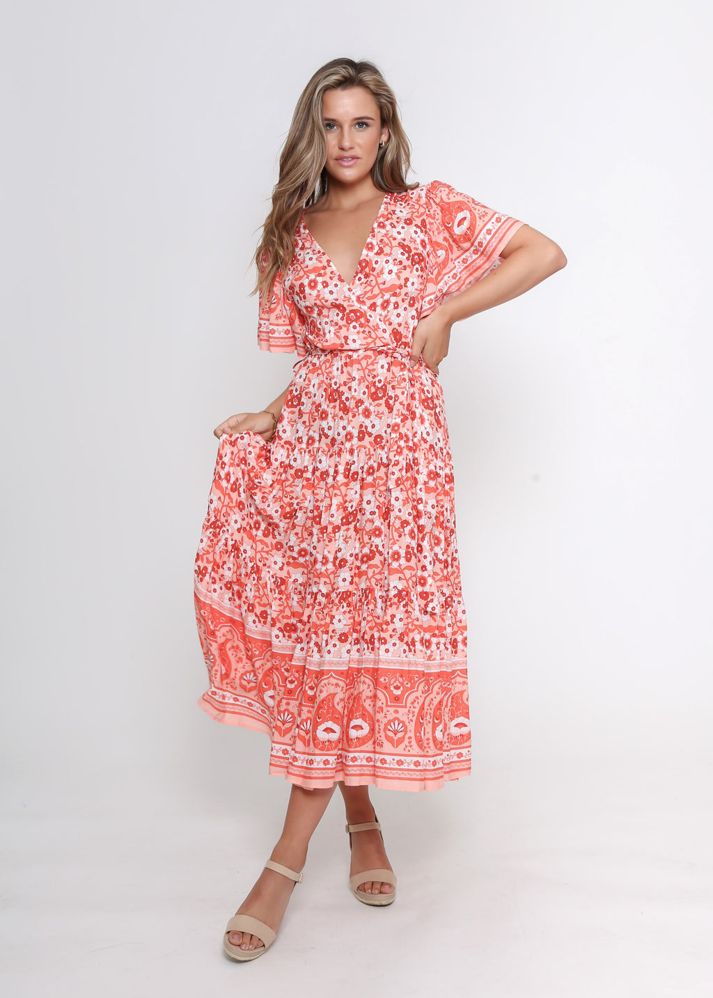 NEW - DAYNA DRESS - ORANGE BOARDER