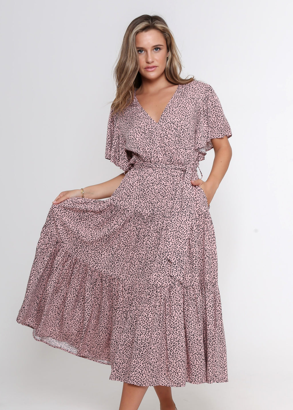 NEW - DAYNA DRESS - BLUSH LEOPARD