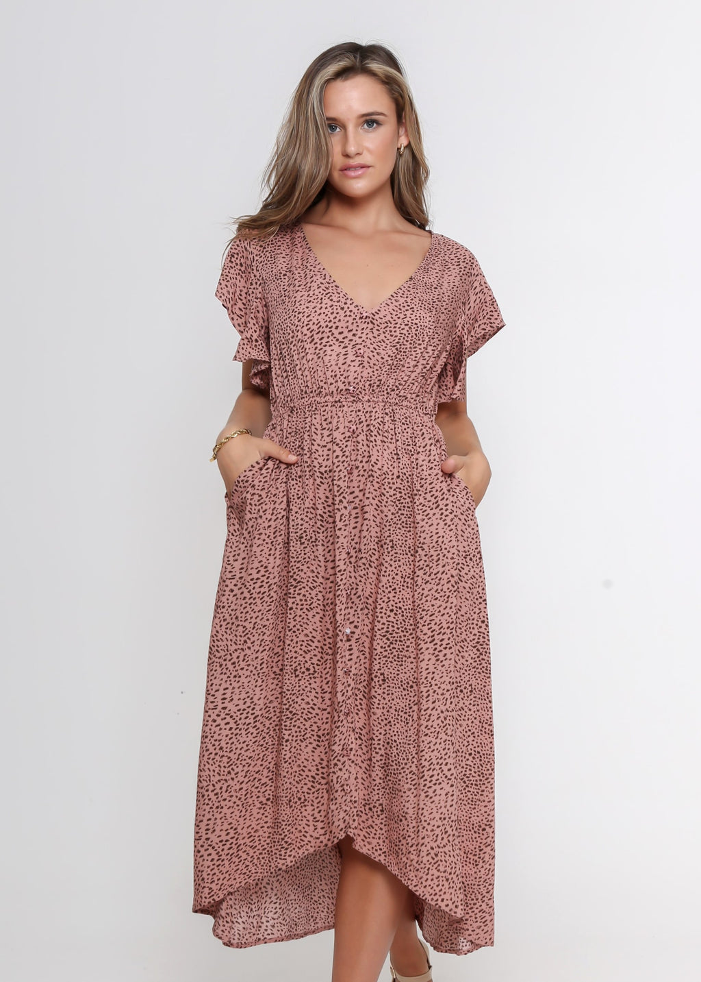 NEW - JEMIMA DRESS - BLUSH LEOPARD