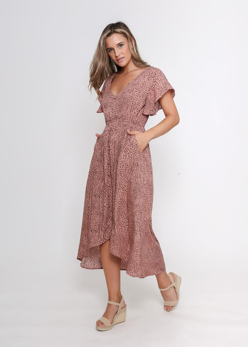 JEMIMA DRESS - BLUSH LEOPARD