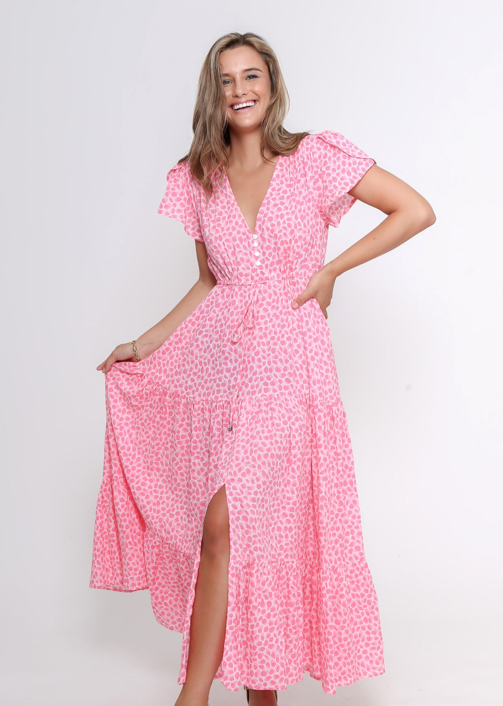 SUNNY MAXI DRESS - PINK PRINT - LAST STOCK