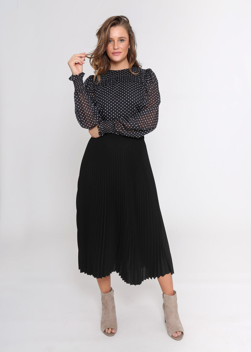 GRACE BLOUSE - BLACK DOT - MARK DOWN MADNESS