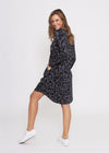 EMERSON L/S DRESS - GUN METAL LEOPARD